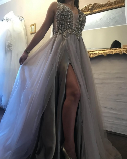Designer Silver Evening Dresses Long Cheap Beaded Floor Length Prom Dresses Online