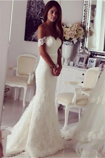 Meerjungfrau Brautkleider Spitze Weiß Herz Brautmoden Pinsel Schlepper Hochzeitskleider