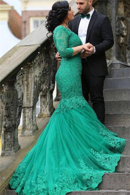 Grün Abendkleider Lang Ärmel Spitze Meerjungfrau Tüll Abendmoden Abiballkleider