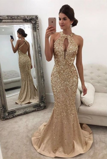 Gold Prom Dresses Long Cheap Crystal Halter Satin Evening Dresses Party Dresses