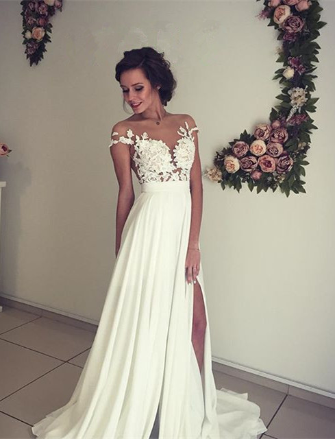 White evening dress long with lace chiffon cheap prom dresses party dresses to moderate