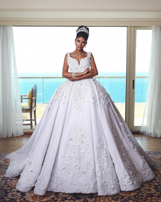 Luxury white wedding dresses with lace princess wedding dresses online
