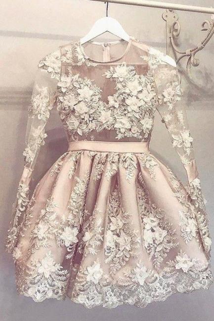 Cheap Long Sleeves Cocktail Dresses Short Princess Mini Evening Dresses Online