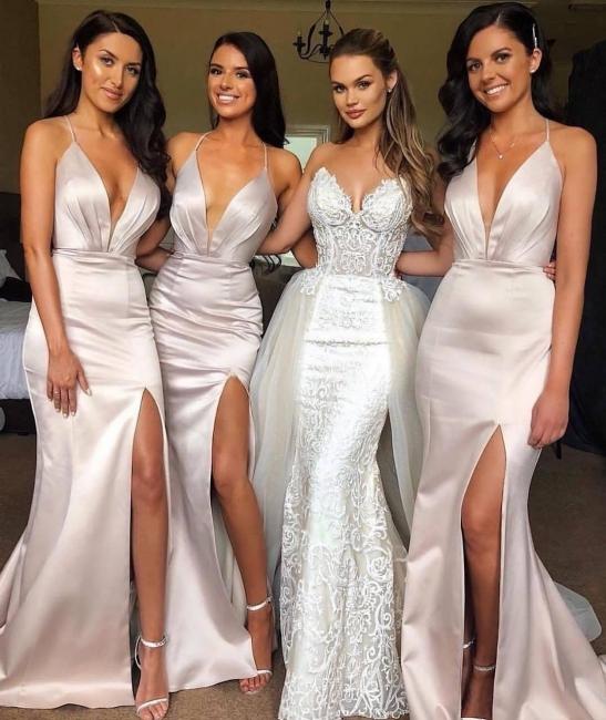 Elegant Simple Bridesmaid Dresses Long Cheap Satin Bridesmaid Dresses
