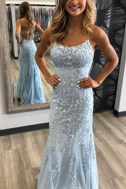 Simple evening dresses long blue | Prom dresses with lace