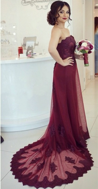 Cheap Evening Dresses Long Lace Sheath Dress Wine Red Evening Dress Party Dresses