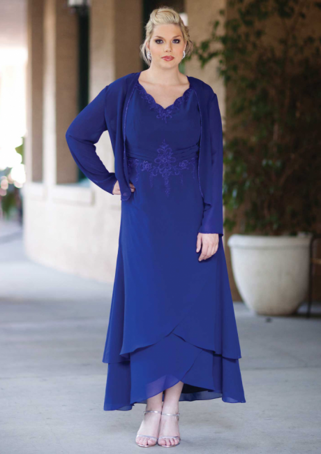 Elegant Royal Blue Mother of the Bride Dresses With Jacket Chiffon Dresses For Wedding