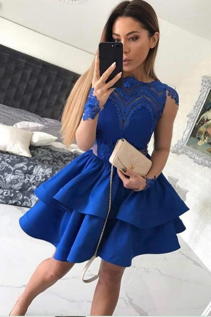 Elegant Cocktail Dresses Short Dark Blue Lace Knee Length Prom Dresses Online