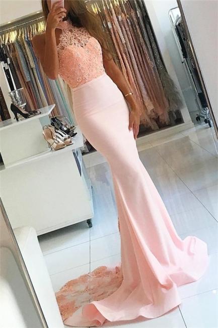 Rosa Abendkleider Lang mit Spitze Meerjungfrau Satin Abendmoden Abschlusskleider