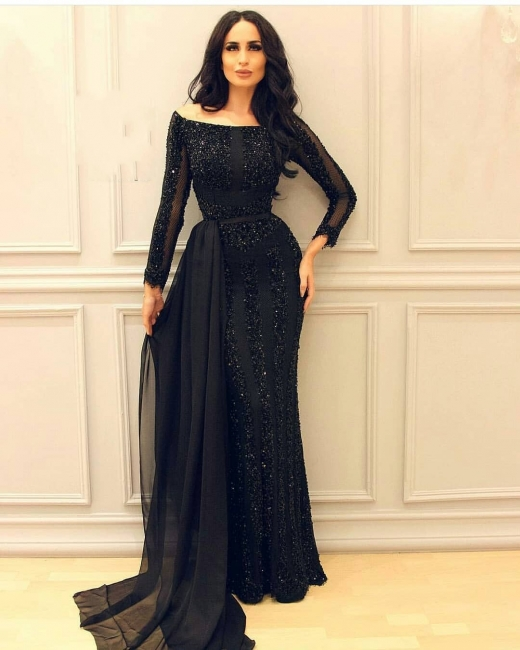 Evening dresses long black | Cheap evening dress with sleeves online