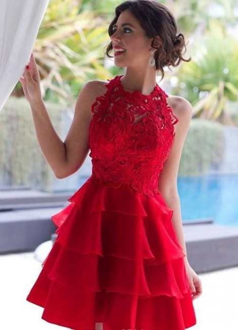 Cheap Party Dresses Cocktail Dresses Short Red With Lace A Line Prom Dresses