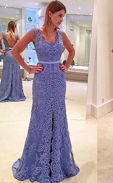 Elegant blue evening dresses long cheap lace prom dresses cheap online