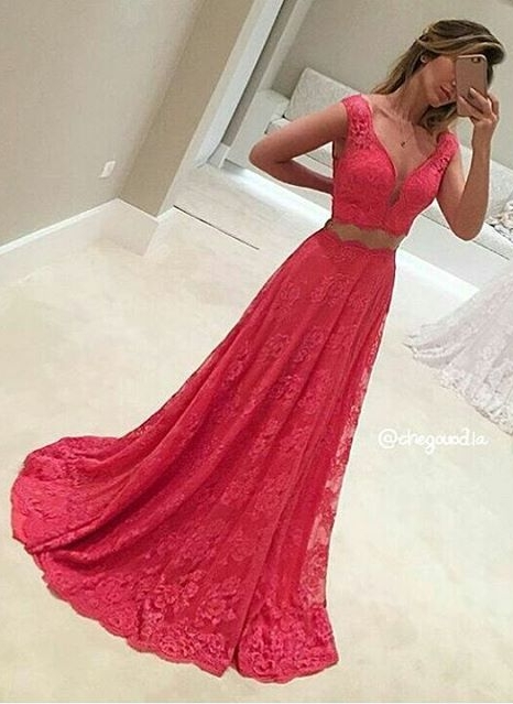 Red Evening Dresses Long With Lace V Neck A Line Prom Dresses