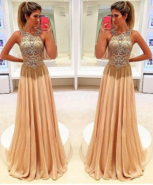 Gold Long Evening Dresses Chiffon Beaded Straps Floor Length Evening Wear Prom Dresses Cheap