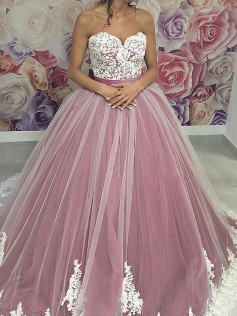 Rosa Günstige Quinceanera Kleider Billig Spitze Tüll Abendmoden Abiballkleider