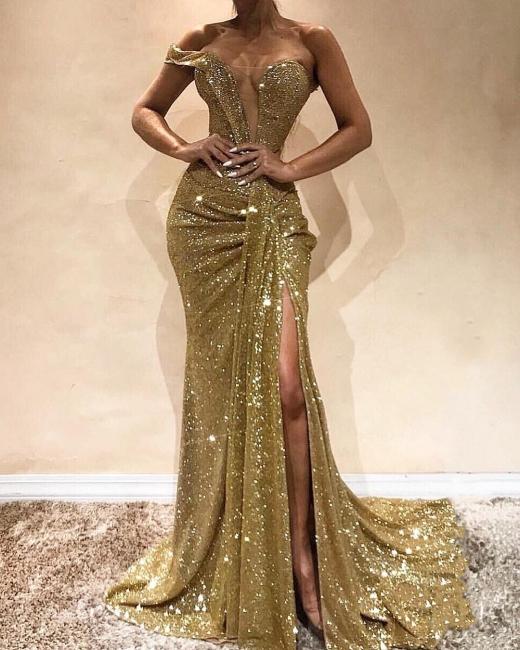 Modern Abendkleider Lang Günstig | Pailletten Abendkleid Gold