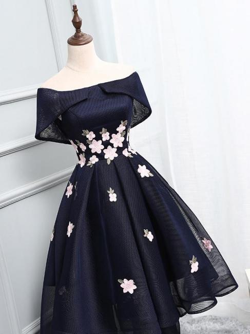 Chic Cocktail Dresses Short Glitter A Line Evening Dresses Short Front Long