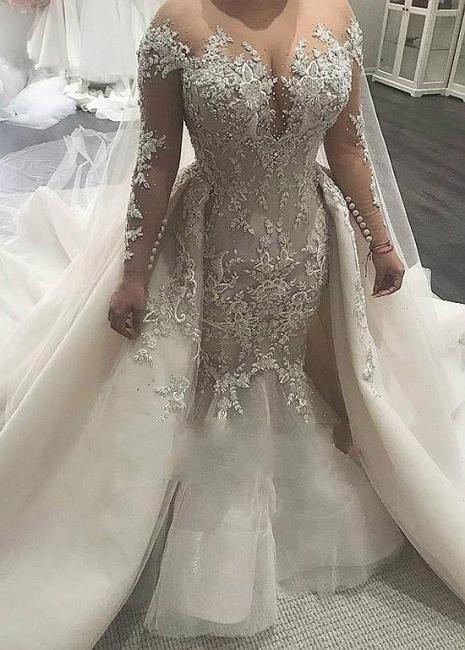 Elegant wedding dresses with sleeves | Wedding dresses A line lace