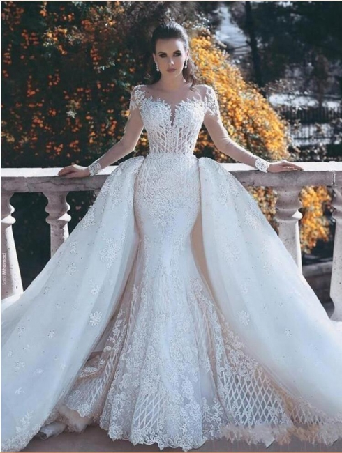 Luxury white wedding dresses with sleeves lace a line wedding gowns cheap online
