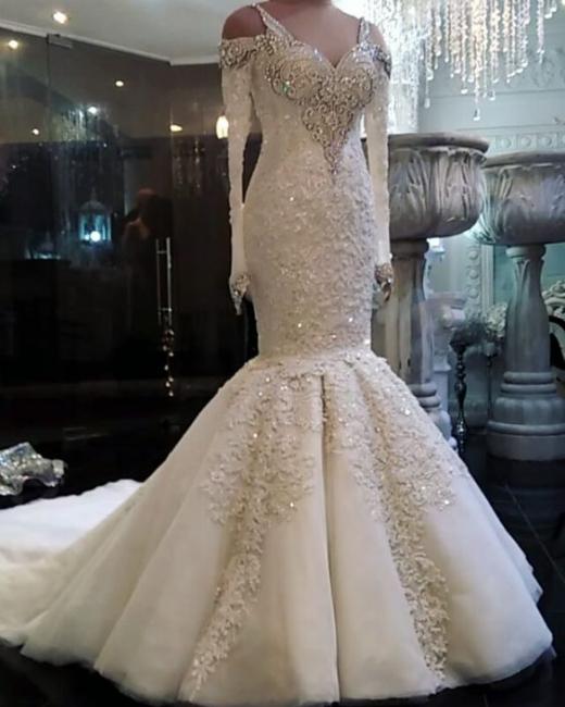 Fashion Weiß Brautkleider Mit Ärmel Perlen Bodenlang Hochzeitskleider Online