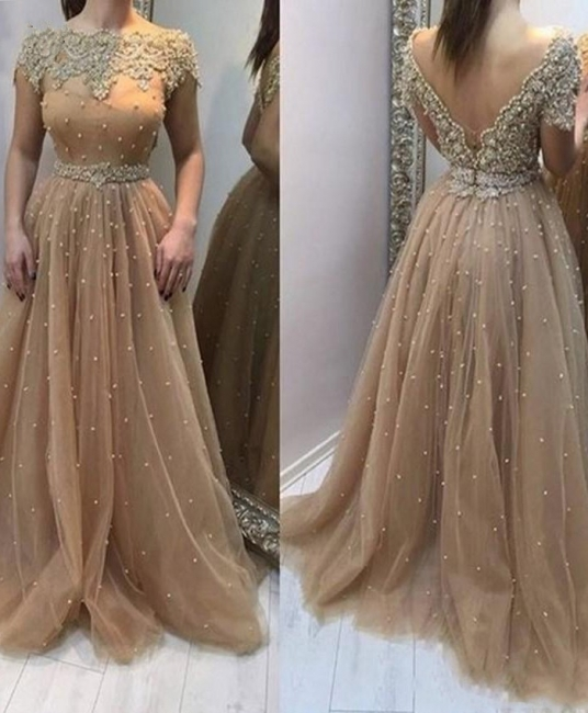 Elegant Evening Dresses Long Gold | Evening wear with lace
