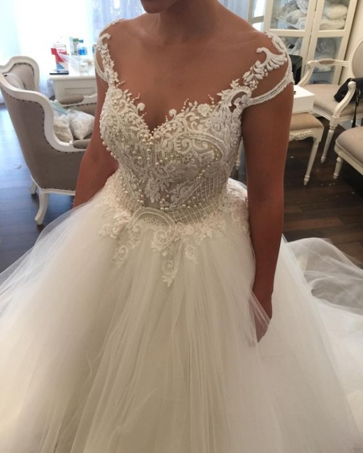 Elegant white wedding dresses with lace princess tulle wedding gowns cheap online