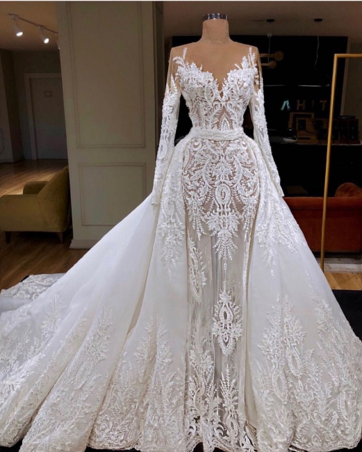 Modern wedding dresses with sleeves white a line wedding dresses cheap