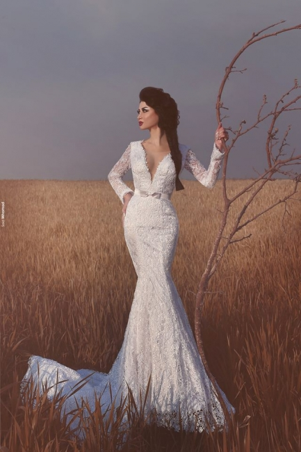 Elegant White Wedding Dresses Long Sleeves Lace Mermaid Wedding Gowns Cheap