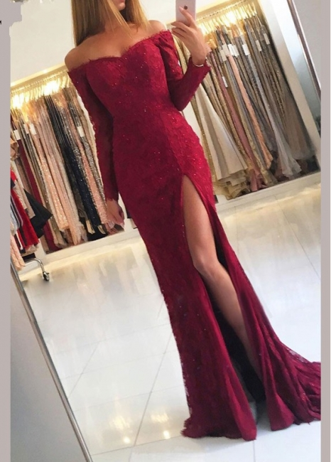 Fashion Evening Dresses Lace With Sleeves | Red evening dress long cheap