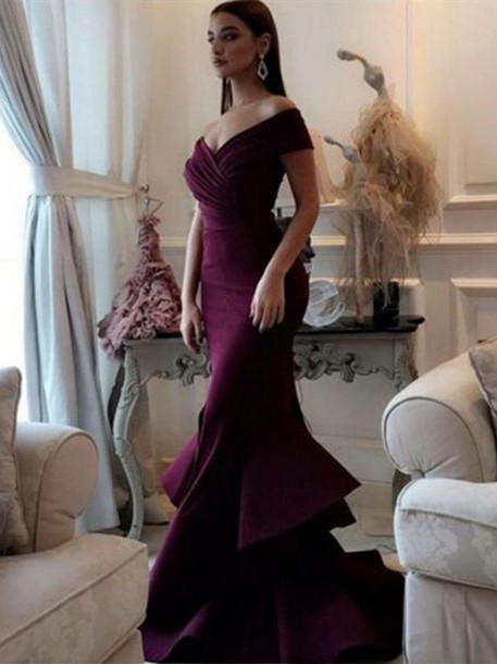 Modern Evening Dresses Long Cheap Mermaid Prom Dresses Floor Length Evening Wear