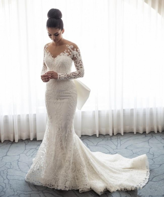 Designer White Wedding Dresses Lace With Sleeves A Line Wedding Dresses Cheap
