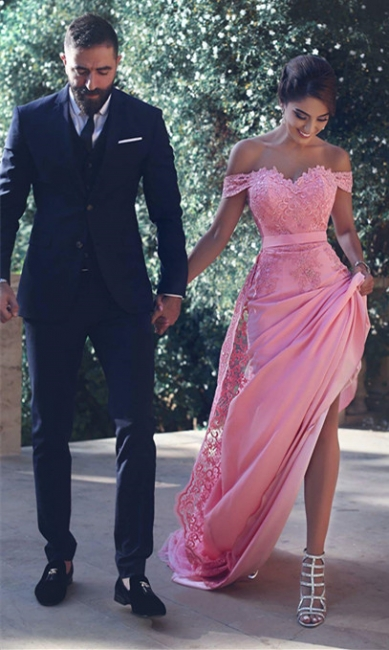 Pink Prom Dresses Long Chiffon With Lace Floor Length Evening Wear Prom Dresses