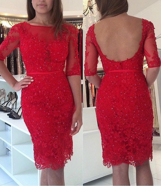 Red Cocktail Dresses With Sleeves Lace Prom Dresses Evening Wear Short