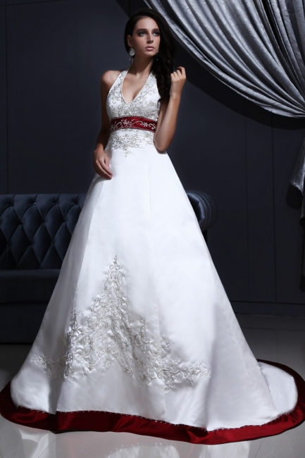 Burgundy white wedding dresses with train a line wedding dresses wedding fashions