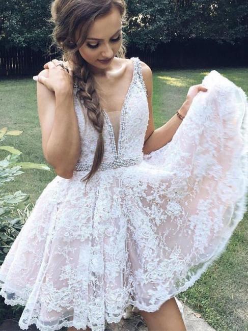 Günstige Cocktailkleider Kurz Spitze Weiße Mini Abendkleider Abiballkleider Online