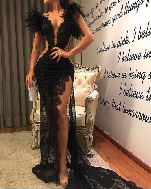 Sexy evening dresses long black | Lace prom dresses with feathers