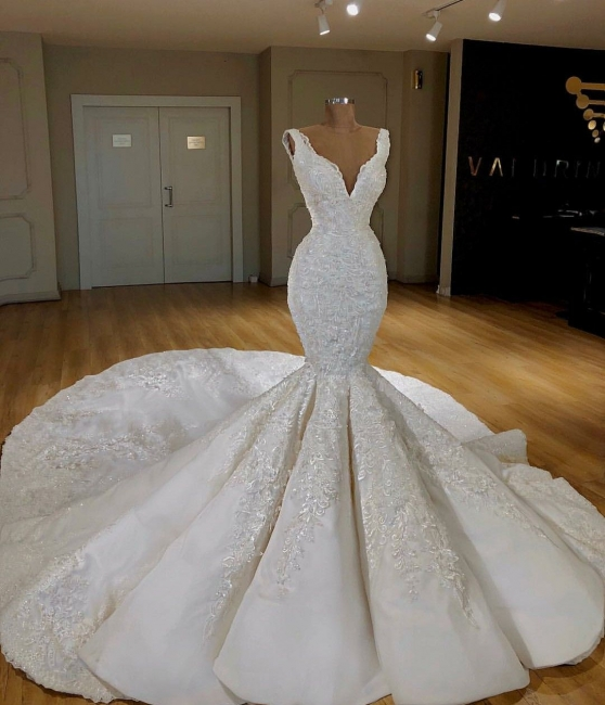 Designer wedding dresses white with lace mermaid wedding gowns cheap online