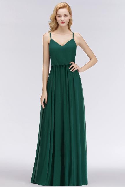 Fashion Dunkel Grün Lange Chiffon Brautjungfernkleider Günstige Kleider Für Brautjungfern