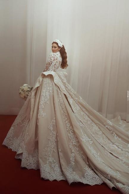 Fashion Champagne Brautkleider Mit Ärmel Spitze Hochzeitskleider Günstig