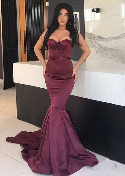 Simple Evening Dresses Long Wine Red Satin Prom Dresses Evening Wear Online