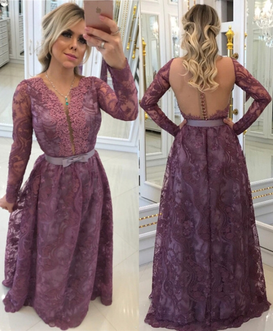 Elegant long sleeves evening dresses with lace sheath dress prom dresses online