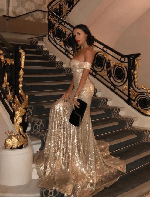Golden evening dresses long cheap sequins mermaid prom dresses cheap online