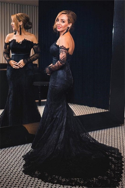 Elegant black evening dresses with sleeves mermaid lace prom dresses long cheap