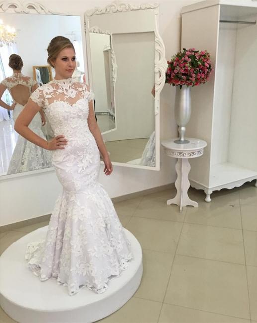 Einfach Weiß Brautkleider Spitze Meerjungfrau Perlen Pinsel Schleppe Brautmoden Günstig