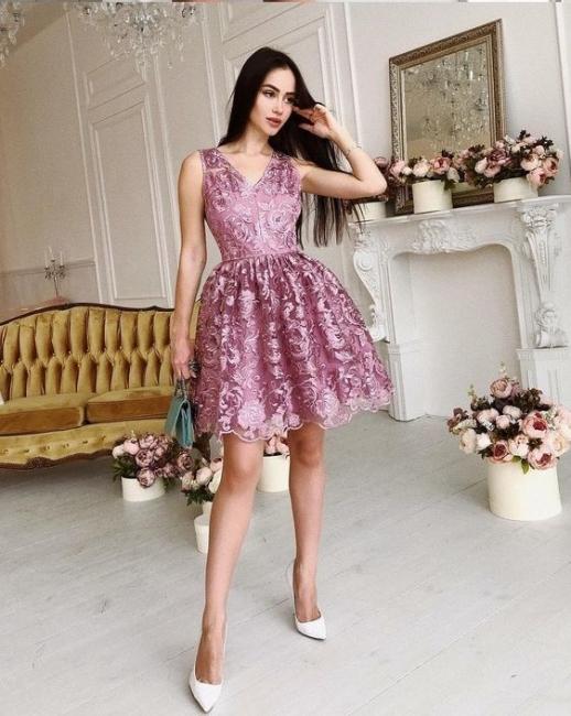 Purple Short Cocktail Dresses Lace Knee Length Prom Dresses Evening Dresses Online