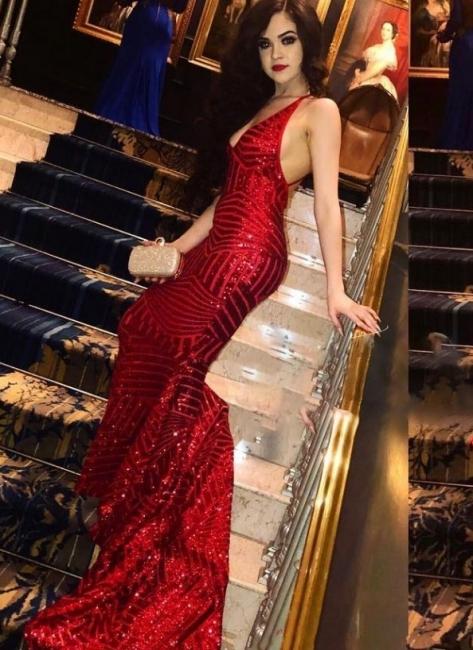 Elegante Rote Abendkleider Lang Günstig Pailletten Abiballkleider Abendmoden Online