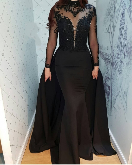 Cheap Evening Dresses Long Black | Lace evening dress with sleeves