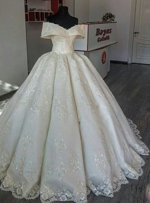 Fashion A Line Wedding Dresses Cream With Lace Cheap Wedding Gowns Online