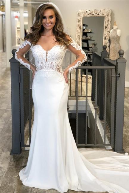 Hochzeitskleid Meerjungfrau Spitze Vintage | Brautkleider mit Ärmel