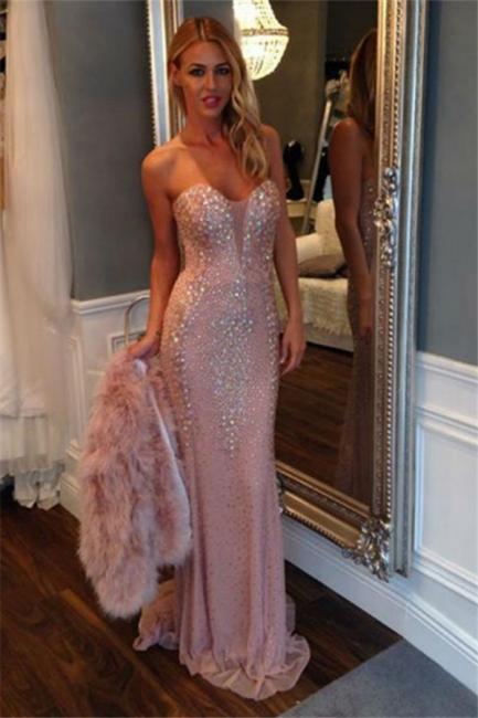 Günstig Rosa Abendkleider Lang Pailletten Meerjungfrau Bodenlang Abendmoden Abschlussballkleider